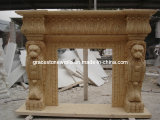 Marble Carved Fireplace with Lion Head Decoration