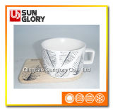 Matte Glazed Coffee Cup with Wooden Coaster of Bd019