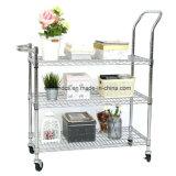 Easy Moving 3 Tier Wire Mesh Rack Rolling Cart Multifunction Steel Storage Utility Cart Trolley