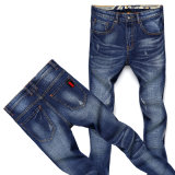 Broken Washing Man Jeans with Colorful Pattern on Waistband (HDMJ0021-17)