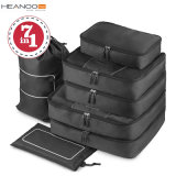 7 In1 Waterproof Luggage Compression Suitcase Travel Organizer Bag Set with Laundry Toiletry Shoe Bag