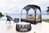Outdoor Sun Bed Rattan Sun Lounger with Canopy