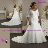 off-Shoulder Tulle Bridal Wedding Gown with Elbow Sleeves