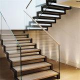 Quarter-Turn Staircase Stainless Steel Frame Glass Steps Lateral Stringer