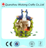 Resin Tabletop Decoration Colorful Peacock Design Water Fountain