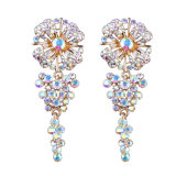 Handmade Diamond Long Luxury Diamond Flower Earrings