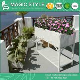 Outdoor Rattan Flower Pot Garden Flower Vase Wicker Flower Shelf Wicker Decor (Magic Style)