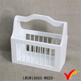 White Chic Storage Vintage Wooden Tool Basket Racks