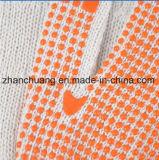 Anti Slip Seamless Bleached White Cotton PVC Dotted Gloves