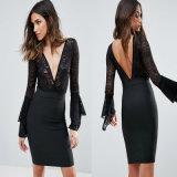 V Neck Women Casual Fashion Dress Long Sleeve Knitted Dress