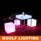 Rechargeable LED Plastic Decrative Round Tea Table