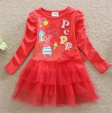 Girls Fashion Lovely Printed Cotton Dress in Spring and Autumn/Cotton and Lace Princess Dress Kd1624