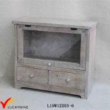Vintage Farm Style 2 Tier Fir Wood Desktop Drawer Storage Cabinet