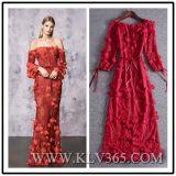 Elegant Design Women Fashion off Shoulder Chiffon Silk Floral Long Maxi Evening Dress