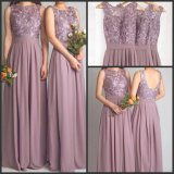 Purple Bridesmaid Prom Gowns Sexy 2016 Lace Chiffon Evening Dresses Y1024