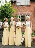 Light Yellow Daffodil Sleeveless Floor-Length Chiffon Appliques Bridesmaid Dress (Dream-100052)