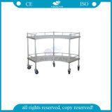 AG-Ss007A Medical 2-Tier Stainless Steel Medicine Trolley with Wheels for Sale
