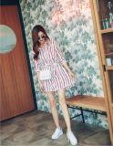 Summer Fashion V-Neck Stripe Ladies Shirt Dress