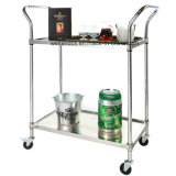 NSF Stainless Steel Wire Restaurant Serving Cart Trolley