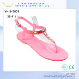 PVC Flat Pink Color Women Sandals Fashion Style with Rhinestone Upper