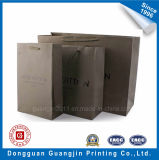 Brown Color Printed White Kraft Paper Shopping Bag with Handle