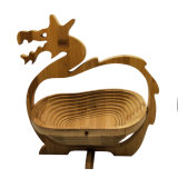 Bamboo Foldable Fruit Basket Vegetable Picnic Basket Chinese Dragon Shape Basket