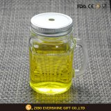 Mason Jar Glass with Handle and Metal Lid for Drinking