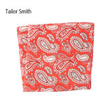 Fashionable Red Silk Printed Paisley Handkerchief Pocket Square Hanky