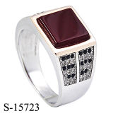 Latest Designs 925 Silver Micro Setting CZ with Agate Ring for Man.