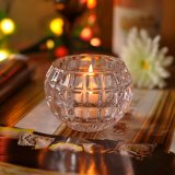 Embossed Patterned High Clear Glass Candle Holders