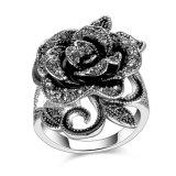Crystal Flower Shaped Gold Metal Bulk Wholesale Ring