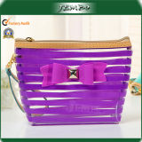 Single Open Purple Clear PVC Cosmetic Plastic Bag