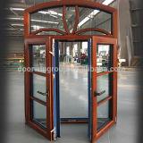 Arched Designed Oak Wood Window with Exterior Aluminum Cladding, Lattice Window Grill Design Casement Window