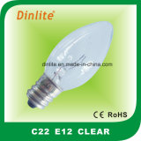 C22 E14 Clear Candle Incandescent Bulb