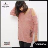 Blush Pink Ladies Cold Shoulder Ladder Knit Fashion Jumper Sweater