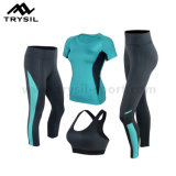 Lady Sports Clothing Sets with Running Pants Fitness Bra and Gym Shirt