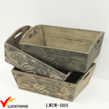 Set 3 Cutout Handle Rustic Planter Wooden Box for Flowers