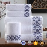 China Factory Price Terry 100% Cotton Bath Towel Set with Satin Embroidery