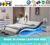 Modern Double Leather Bed with LED Light (HC305)