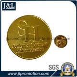 Die Struck Sanblasting Metal Lapel Pin in Shiny Gold Plating