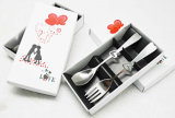 Heart Shape Stainless Steel Spoon/Fork Cutlery Set with Gift Box Package