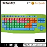 Eco-Friendly Material Colorful Big Letters Wired USB Kids Keyboard