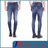 Men Summer MID Blue Distressed Wash Jogged Skinny Jeans ((JC3328)