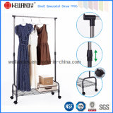 Adjustable Sturdy Metal Clothes Closet Hanger Rack in Black