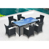 Outdoor PE Rattan Dining Set for Outdoor with 6 Chairs SGS