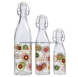 Clip Top Square Glass Bottle for Milk and Juice Water
