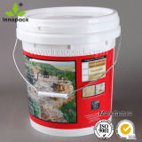 16L Colored Plastic Pail with Lid and Metal Handle for Industrial Packaging and Food Packaging