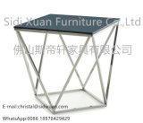 Modern Vector Modern Smoked Glass Stainless Steel End Side Table