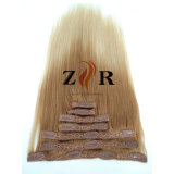 Light Color Natural Drawn Brazilian Hair Clip in Human Hair Extension