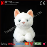 ASTM Realistic Stuffed Animal Plush Toy Soft White Cat for Children